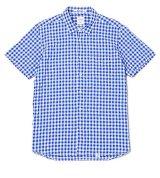 BEDWIN & THE HEARTBREAKERS<ベドウィン>/ S/S SHIRRING GINGHAM SHIRT'MAREK'(シャーリングギンガムチェックシャツ)/レッド、ブルー2色展開