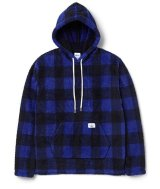 BEDWIN & THE HEARTBREAKERS<ベドウィン>/ L/S CHECK BOA PULLOVER HOODED'DAVID'(ボアフリースパーカー)/ブルー